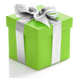 Green gift box with silver ribbon Stock Images