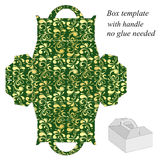 Green gift box template with floral pattern Royalty Free Stock Image