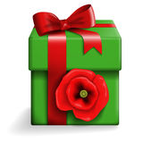 Green gift box. Vector of a green gift box with red poppy and ribbon Stock Images