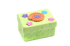 Green Gift box  in white background Stock Photo