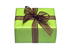 Green gift box on white background Royalty Free Stock Photos