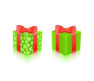 Green Gift Box With Hearts Royalty Free Stock Photo