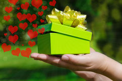 Green Gift box in woman's hands Royalty Free Stock Photo