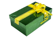 Green gift box with yellow ribbon Royalty Free Stock Image
