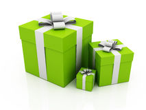 Green gift boxes with bows Stock Photography