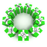 Green gift boxes circle 2 Royalty Free Stock Images