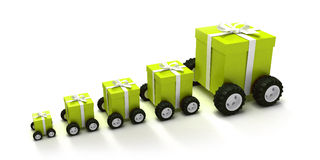 Green gift boxes convoy. 3D-render of a line of different sized giftboxes with wheels Royalty Free Stock Image