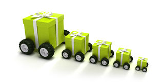 Green gift boxes convoy. 3D rendering of a line of green gift boxes with a white ribbons on wheels Stock Photo
