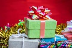 Green gift boxes Stock Photos