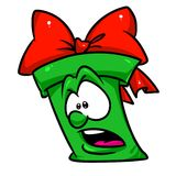 Green gift fear cartoon illustration Royalty Free Stock Images
