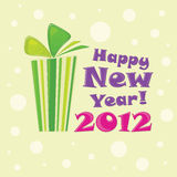 Green gift, postcard Happy New Year 2012. Vector Illustration Stock Photos