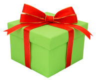 Green gift with a red tape Royalty Free Stock Image