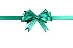 Green gift ribbon bow straight horizontal isolated on white background Royalty Free Stock Photography