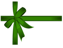 Green gift, ribbon, bow / vector Royalty Free Stock Photo