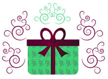 Green gift with ribbon Stock Photography
