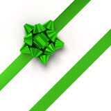 Green gift ribbons in diagonal array Royalty Free Stock Image