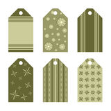 Green gift tags. Set of six gift tags in green with stripes and flowers Stock Photography