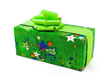Green Gift on white. One gift wrapped in green christmas paper with green bows. Ideal Christmas Present type Photo Royalty Free Stock Photos