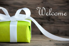 Green Gift with the Word Welcome Royalty Free Stock Photo