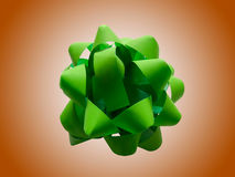 Green gift wrap bow Stock Photography