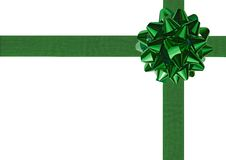 Green Gift Wrapping Bow And Ribbon Royalty Free Stock Photography