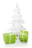 Green giftboxes in green for Christmas - isolated Stock Image