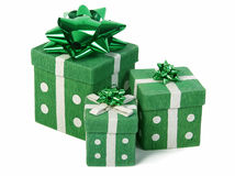 Green gifts boxes. Over white background Stock Photo