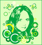 Green girl. Retro illustration: Green girl beautiful Stock Image