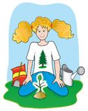 Green girl. Illustration that depicts a girl who met the plan notes that she has sown Royalty Free Stock Image
