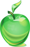 Green glass apple stock image