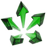 Green Glass Arrow Star. Thin Glass 3d Arrows, isolated Stock Photo