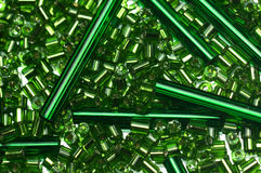 Green glass beads. For jewelry making stock photography