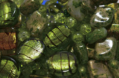 Green glass beads Stock Photo