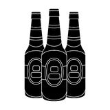 Green glass beer bottles. Alcoholic drink pub. Pub single icon in black style vector symbol stock illustration. Green glass beer bottles. Alcoholic drink pub Royalty Free Stock Image
