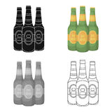 Green glass beer bottles. Alcoholic drink pub. Pub single icon in cartoon style vector symbol stock illustration. Green glass beer bottles. Alcoholic drink pub Royalty Free Stock Images