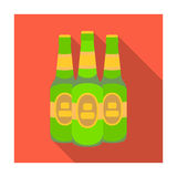 Green glass beer bottles. Alcoholic drink pub. Pub single icon in flat style vector symbol stock illustration. Green glass beer bottles. Alcoholic drink pub Stock Photography
