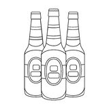 Green glass beer bottles. Alcoholic drink pub. Pub single icon in outline style vector symbol stock illustration. Green glass beer bottles. Alcoholic drink pub Stock Photography