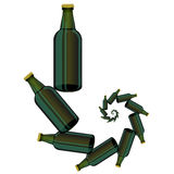 Green Glass Beer Bottles. On White Background Royalty Free Stock Photos
