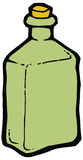 Green glass bottle with cork vector drawing. Royalty Free Stock Image