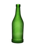 Green glass bottle of wine isolated on a white background. Royalty Free Stock Photography