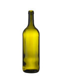 Green glass bottle of wine isolated on a white background. Stock Image