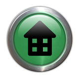 Green Glass Button - Home Royalty Free Stock Photography