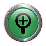 Green Glass Button - Zoom In Royalty Free Stock Images