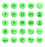 Green Glass Buttons. Buttons for use on a website Stock Illustration