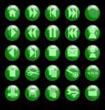 Green Glass Buttons on a Black Background Stock Photography