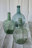 Green glass carafes Royalty Free Stock Photography