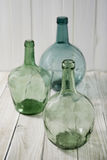 Green glass carafes Stock Image
