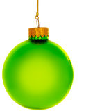 Green Glass Christmas Ornament. Green spherical christmas ornament. Square format. Isolated Stock Photography
