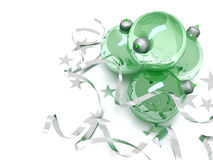 Green glass Christmas toys Royalty Free Stock Images