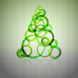 Green glass circles christmas tree vector Stock Photography